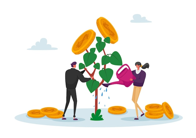 Business man and woman characters watering money tree