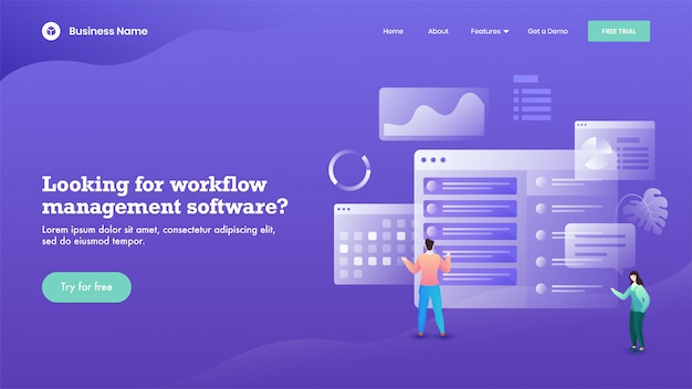 Business man and woman maintain the website on purple  for workflow management software  based landing page .