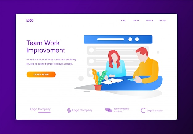 Business man and woman meeting brainstorming illustration concept for website or landing p