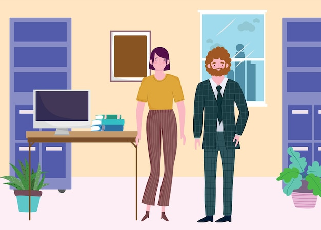 Business man and woman office desk computer and books, people working  illustration