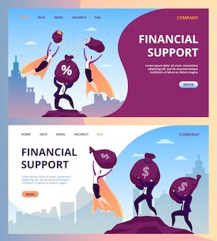 Business man woman people hero with money  illustration. businessman success superhero help in suit concept,  professional finance power landing  set. super leader manager in cape.