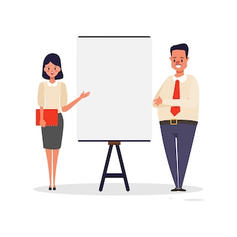 Business man and woman presentation whiteboard.
