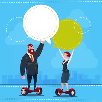 Business man and woman ride electric scooter transport chat bubble copy space