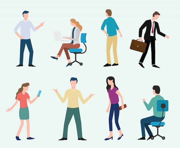 Business man and woman set collection with modern style vector illustration