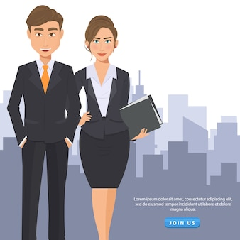 Business man and woman to sign up flyer
