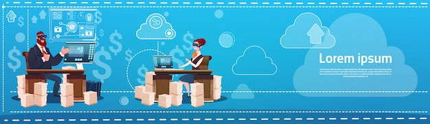 Business man and woman wear digital virtual reality glasses sitting desk office working place comput