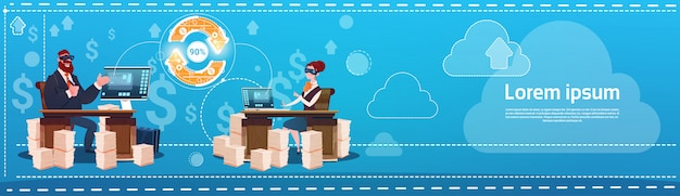 Business man and woman wear digital virtual reality glasses sitting desk office working place laptop