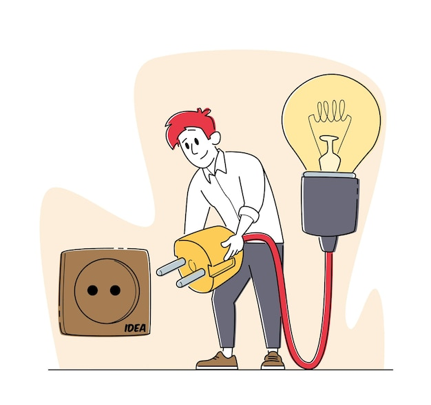 Деловой человек работает над проектом в поисках творческой идеи. мужской персонаж включает вилку в розетку для огромной лампочки