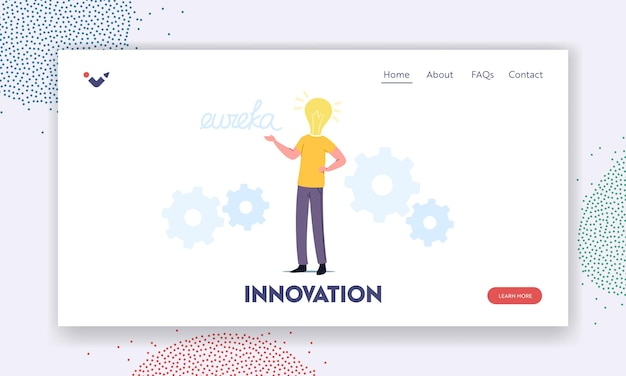 Business man work on project search creative idea yell eureka landing page template. male character with huge bulb instead of head thinking, brainstorm, research solution. cartoon vector illustration