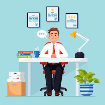 책상에서 일하는 비즈니스 사람. 문서, 커피와 함께 사무실 인테리어. 관리자는 의자에 앉아