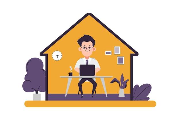 在宅勤務のビジネスマンの概念は家にいる安全を保つ