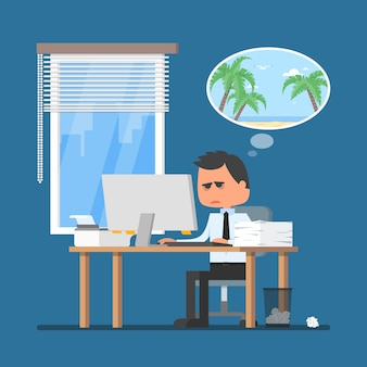 Business man working hard and dreaming about vacation on a beach illustration