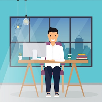 Business man working at his office desk. flat design modern business concept.