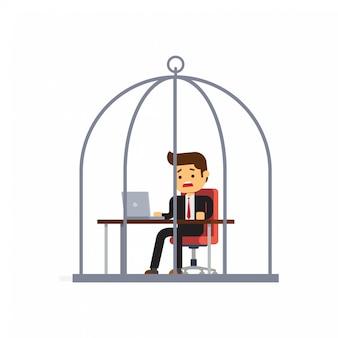 鳥かごで働くビジネスマン