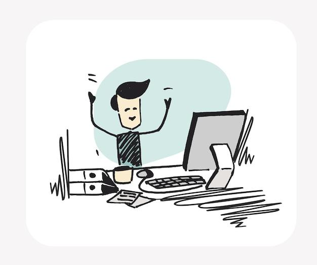 ワーキングデスクで働くビジネスマン。フラットなデザイン。漫画手描きスケッチベクトルの背景。