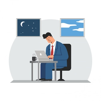 Business man working with laptop computer illustration