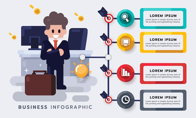 Business management, businessman with work. strategy or new project plan infographic element. flat  illustration