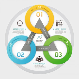 Business management circle origami style options infographic.