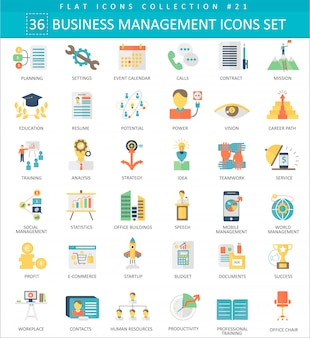 Business management color flat icons
