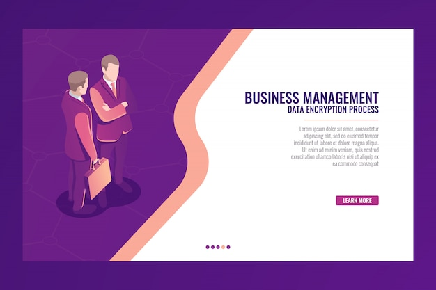 Business management communication concept, web page template banner, businessman with suitcase isome