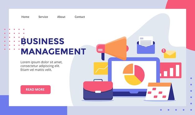 웹 웹 사이트 홈페이지 방문 페이지 템플릿 일러스트레이션을위한 비즈니스 관리 개념 캠페인 프리미엄 벡터
