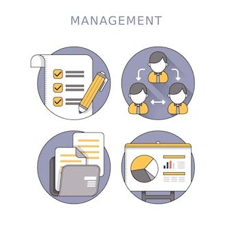 얇은 선 스타일의 비즈니스 관리 개념
