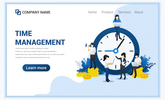 Business management concept, money saving, time is money, save time with characters.
