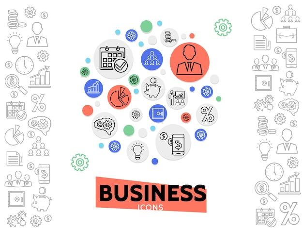 Concetto di business e gestione con icone di linea in cerchi colorati ed elementi monocromatici di finanza