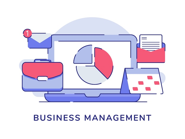 Business management concept with pie chart and related icon objects with flat outline style