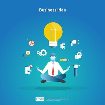 座って瞑想するビジネス管理の概念。マインドフルネス思考の問題解決。