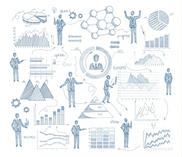 Business management concept with sketch people and charts