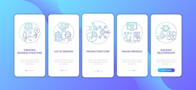 コンセプトのあるビジネス管理ダークブルーのオンボーディングモバイルアプリページ画面