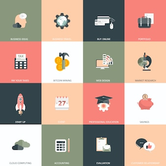 Business, management and finances icon set
