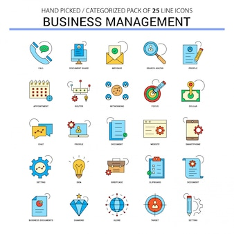 Business management flat line icon set