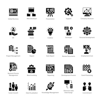Business management glyph icons pack