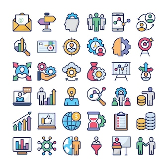 Business management icons pack