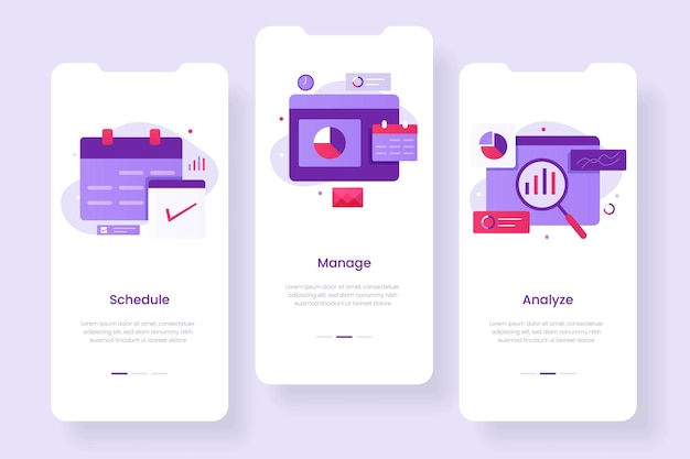 Концепция мобильного приложения управления бизнесом. иллюстрации для сайтов, лендингов, мобильных приложений, постеров и баннеров