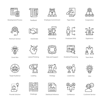 Business management outline icons pack