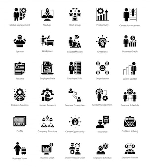 Business management solid icons set