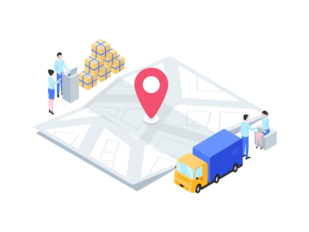 비즈니스 맵 패키지 전송 추적 아이소메트릭 그림입니다. 모바일 앱, 웹사이트, 배너, 다이어그램, 인포그래픽 및 기타 그래픽 자산에 적합합니다.