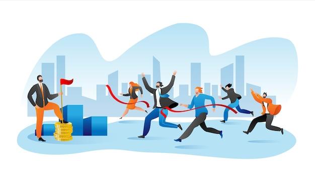 Деловая марафонская гонка, бизнесмены на беговой дорожке