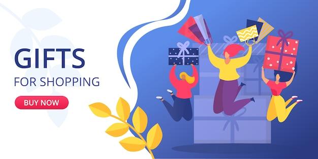 비즈니스 마케팅 개념, 시즌 쇼핑 선물 판매 그림. 기호 상거래 광고, 구매 행복 소녀, 아름다운 라이프 스타일. 구매자를위한 특별 가격.