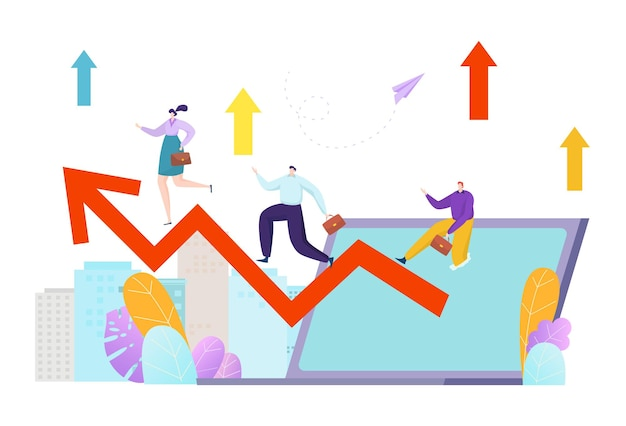 Business marketing growth, finance arrow concept illustration