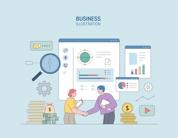 ビジネスマーケティングイラストビジネスに従事する男性と女性