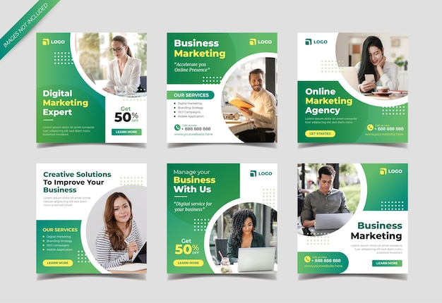 Business marketing instagram post collection template