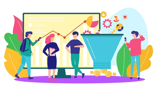 Business marketing in internet vector illustration people character stand near online web service in...