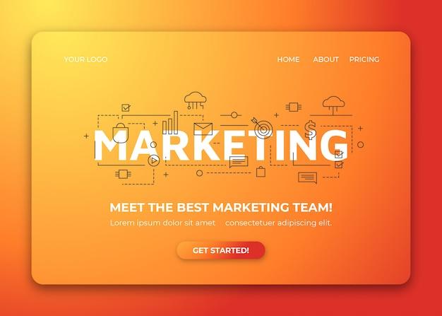 Business marketing line art illustration background for landing page
