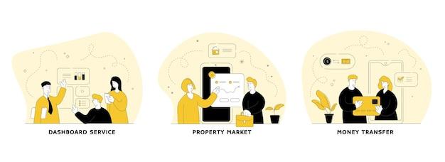 Набор плоских линейных иллюстраций приложения инструмента бизнес-маркетинга. дашборд сервис, рынок недвижимости, денежные переводы. управление финансовыми данными. персонажи мультфильмов