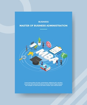 Business master of business administration people around mba text hat book arrow target board