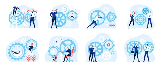 Business mechanism collaborative work environment successful teamwork growth strategy concept
